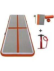 Hinchable de gimnasia aire planta aire pista Tumbling Mat Alfombra para entrenamiento de animadora para casa/animadora/playa/parque/agua, Unisex, Orange Red