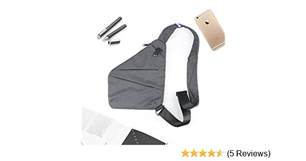 LC Prime Messenger Bag Shoulder Bag Big Storage Anti-Theft Ultra-Thin for Business Sports nylon gray by