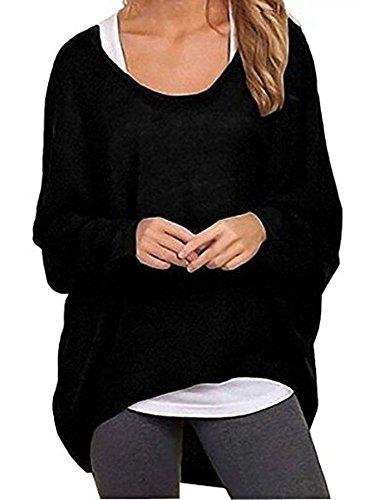 Elevesee Damen Lose Asymmetrisch Jumper Sweatshirt Pullover Bluse Oberteile Oversize Tops (42, Schwarz)