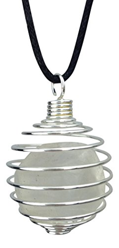 Crystal Quarz tumble Draht gewickelt Anhänger mit schwarzem Kabel (Crystal Gewickelt-anhänger)