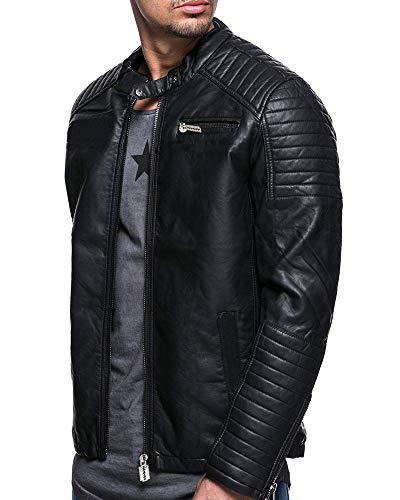 AnyuA Herren Vintage Leder Motorrad Style Jacke Schwarz L.