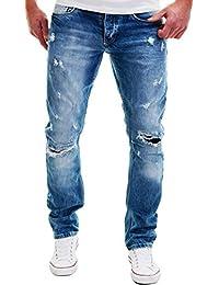 AMICA by MERISH Pantaloni Uomo, Jeans, Eye-catching cuciture decorative, StraightFit Sguardo Distrutto