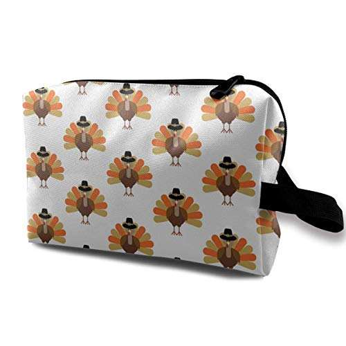 Turkey Thanksgiving Funny Pattern Small Cosmetic Bags Travel Makeup Bag Fashionable Organizer For Women Girls -