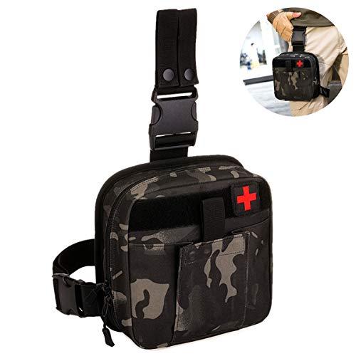 Selighting Taktisch Beintasche Wasserdicht Notfalltasche Erste Hilfe Tasche Militär Hüfttasche für Outdoor Wandern Trekking Reisen Airsoft (Camouflage schwarz)