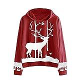Tianwlio Damen Lässige Langarmshirt Weihnachtsaltes Hoodie Weihnachten Monochrome Rentier Bedruckte Kordelzug Tops Bluse rot L