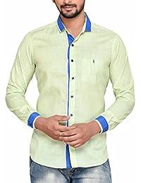 PP Shirts Men Light Green Cloured Solid Casual Shirt