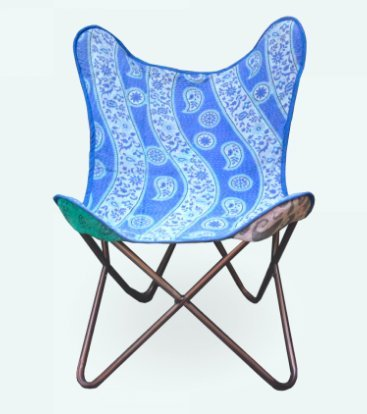 Heritage Barcelona Butterfly Chair Stuhl Schmetterling Handmade with Indian Fabric and Heavy-Duty Canvas-zerlegbar-Easy Assembly, Black Metall Frame (Stuhl Kantha)