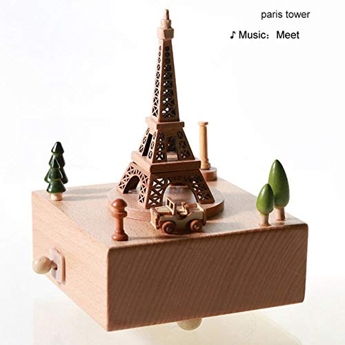 AOJIAOGUI Children Toy Wood Crafts Vintage Retro Birthday Gift Home Decor Accessories Carousel Musical Boxes New Year Music Boxes,1 Paris Tower (Weihnachts-musical Carousel)