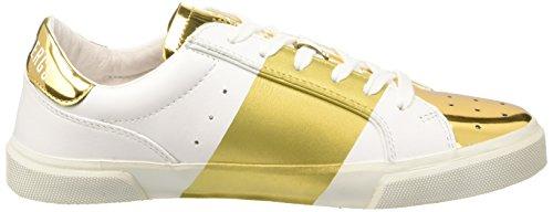 Bikkembergs Rubb-Er 670 L.Shoe W Leather/Shiny S.Leather, Pompes à Plateforme Plate Femme Blanc Cassé (White/Gold)