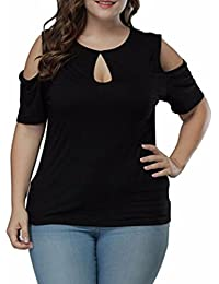 Camisetas de Tallas Grandes para Mujer❤ L~5XL, LILICAT® Tops de Manga Corta de Moda con Ojo de Cerradura, Blusa…