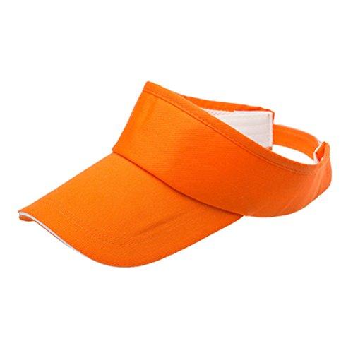 VORCOOL Unisex Einstellbare Sonne Sport Visier Cap Golf Cap Tennis Visier Hut UV Schutz für Radfahren Angeln Laufen Jogging (Orange) (Plain Sonne Hut)