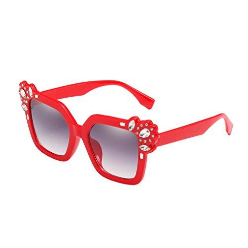 UV400 Unisex Sonnenbrille, BakeLIN Mode Cat Eye Strass Dekoration Brillen Gläser 2018 (Beige Schwarz Blau Braun Rosa Rot) (5.3cm, Rot)