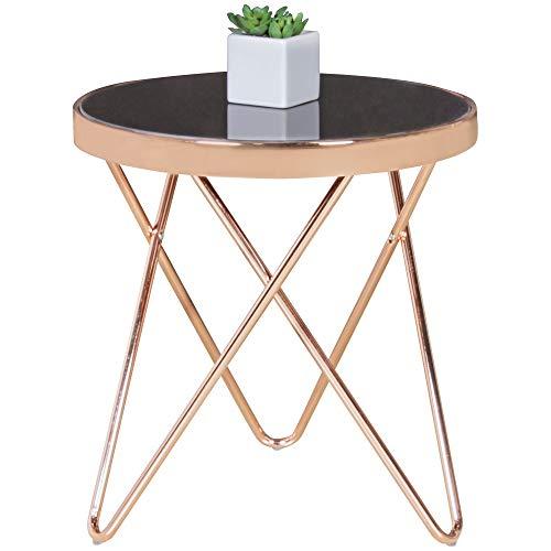 FineBuy Design Couchtisch Round Mini ø 42 cm Rund Glas Kupfer | Lounge Beistelltisch verspiegelt | Moderner Wohnzimmertisch | Glastisch Sofatisch Tisch für Wohnzimmer -