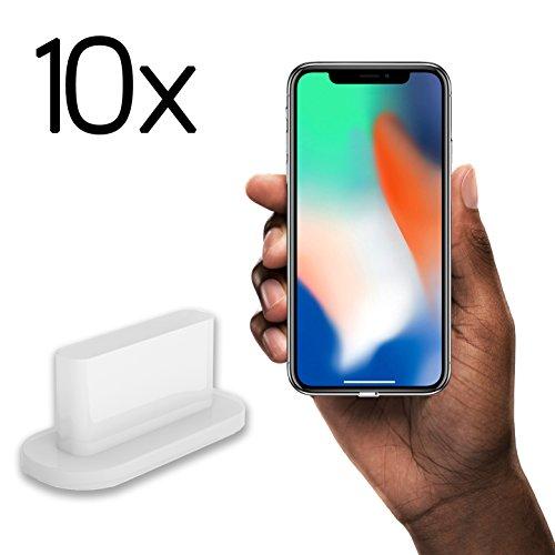 10x Staubschutz Stöpsel iPhone 7/8/X by innoGadgets | Staubstecker, Schutz für Apple Lightning Anschluss | Staubstöpsel aus Silikon - Transparent