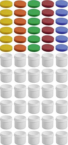 30 Salbendöschen, Creme-döschen, Salbenkruke flach, 25ml Inhalt mit farbigen Deckeln - MADE IN GERMANY