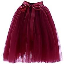 Mujer Fiesta Boda 7 Capa De Gasa De Tul Danza Ballet Cintura Elástica Verano Maxi Larga Falda Del Tutú Long Tutu Skirt Vino Rojo