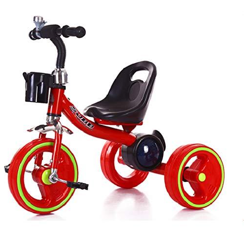 Fenfen Triciclo per Bambini Triciclo per Bambini Triciclo per Bambini Triciclo per Biciclette Musica Colorata Triciclo Bicicletta 2-6 Anni Bambino Regolabile in Bicicletta (Colore : Red)