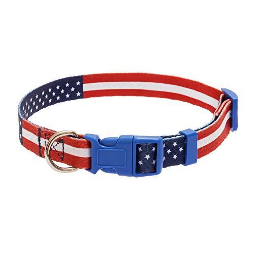 Mihachi Hundehalsband Amerika-Flagge Stern gestreift Flaggenmuster Nylon verstellbar für kleine bis mittelgroße Hunde -
