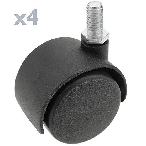 PrimeMatik - Lenkrollen Schwenkrollen Industriell Rad aus Nylon ohne Bremse 40 mm M6 4 Pack