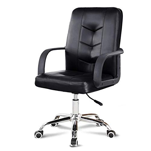 Stühle XUERUI Dick Gepolstert Leder Bürostuhl Gemütlich Hoher Rücken Ergonomisch Chefsessel Dauerhaft (Farbe : Black 1) (Boot-tisch Base)