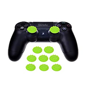 Skins4u Silikon Thumb Sticks für Playstation 3 4 Xbox One Wii Xbox 360 Analog Stick Gamepad Aufsätze Caps Anti-Rutsch Schutz Kappen Neon
