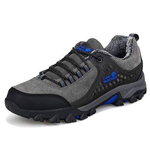 MERRYHE Klettern Schuhe Herren Vintage Outdoor Trainners Sport Camping Laufschuhe Trekking Wandern Bergschuhe mit Fleece Futter,Blue-41