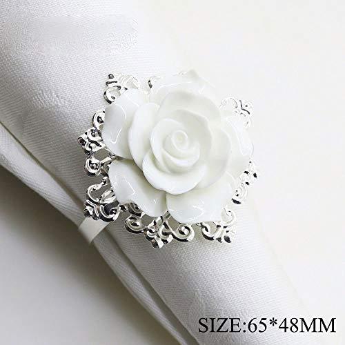 65 * 48mm 6pcs / 10pcs weißer Harz-Rosen-Servietten-Ring für Hochzeitstafeldekoration, Nickel oder rosafarbene Vergoldung (6 Stück)