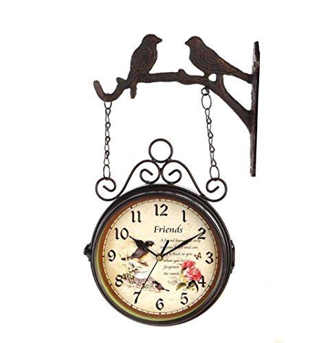 Clock Sided Wall Double (Vintage Europäischen Vogel Und Blume Doppelseitige Wanduhr Eisen Wohnzimmer Quarzuhr Stumm Kreative Uhr , A)
