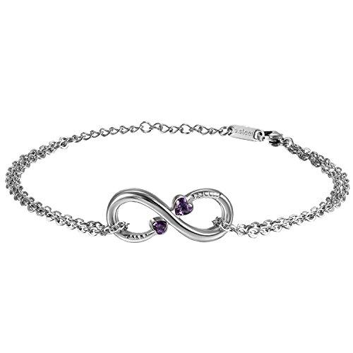 Oidea Damen Infinity Armband, Edelstahl Unendlichkeit Symbol Lieben Herz Zirkonia Armreifen Panzerarmband Kettenarmband, Silber lila (Edelstahl-infinity-armband)