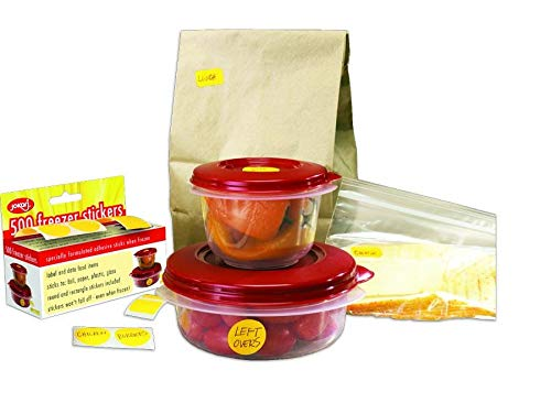 Jokari 25061 - Freezer Stickers x 500 - Lebensmitteletiketten fur Gefrierbeutel & Gefäß - Rund 25mm & Rechteck 12x25mm - Gelb - EINWEG