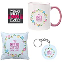 Giftsmate Birthday Gifts For Sister Combo, Most Beautiful Sister Mug Hamper For Sister With Mug, Coaster, Cushion Cover, Keychain