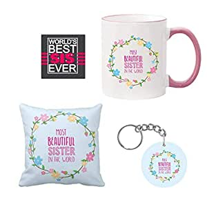 Giftsmate Birthday Gifts For Sister Combo Most Beautiful Mug Hamper With Coaster Cushion Cover Keychain Amazonin Bags