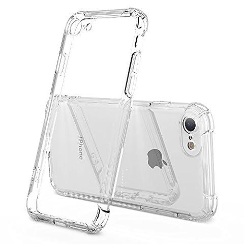 iPhone 7 Étui + vitre de Protection d'écran en verre trempé , housse coque transparent Coque antichoc en TPU [chute Protection Shock Absorption Coque de protection pour Apple iPhone 7