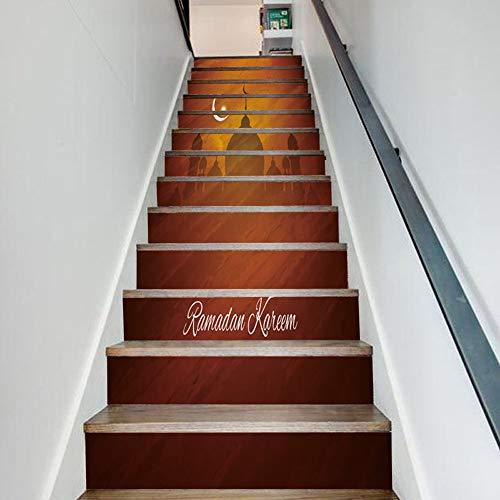 XUE Treppe Aufkleber, Urlaub Dekoration Treppen kreative Wandaufkleber Moonlight Castle Hersteller Großhandel benutzerdefinierte Aufkleber Tapete Wandbilder Kunst Dekor Wandtuch (Urlaub Dekorationen Großhandel)