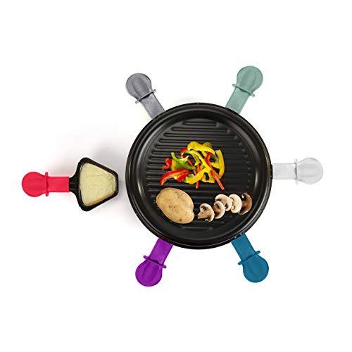 Raclette Grill 6 personas Grillplatte Tischgrill Elektrogrill Grillplatte redonda (6 sartenes, 800 vatios, Antihaftbeschichtung, Party Grill, colores)