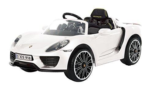 ROLLPLAY Premium Elektrofahrzeug mit Fernsteuerung und Rückwärtsgang, Für Kinder ab 3 Jahren, Bis max. 35 kg, 12-Volt-Akku, Bis zu 4 km/h, Porsche 918 Spyder, Weiß