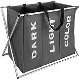 TecTake 800655 - Panier à Linge Triple, Matériau résistant, Sangles pour Un Transport Confortable - diverses Couleurs au Choix (Gris foncé | N° 402964)