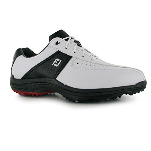 Footjoy Greenjoy Herren Golf Schuhe Softspike Sport Schnuerschuhe Golfschuhe White/Black 9 (43)