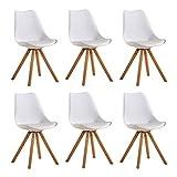 Zcxbhd Set di 6 Sedia Design scandinave Sedia Pranzo con Gambe in Quercia Massiccio e Cuscini in Finta Pelle per Office Lounge Cucina (Colore : Bianca)
