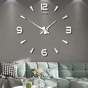 Vangold Moderne Mute DIY große Wanduhr 3D Aufkleber Home Office Decor Geschenk - 2 Jahre Garantie (Silber-73)