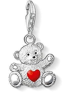 Thomas Sabo Damen-Charm-Anhänger Bär Charity Charm Club 925 Sterling Silber geschwärzt rot schwarz 0680-007-10