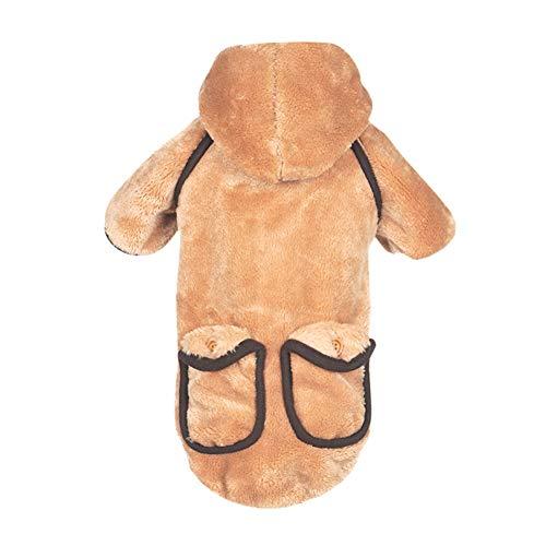 Reefa Hund Kaltwetter Mäntel mit Kapuze Taschen Für kleine und mittlere Hunde Winter Warm Kostüm Kleidung Fluffy Verdickung Jacke Hund (Hunde Fluffy Kostüm)