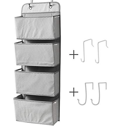 MANGOTRE Hängeschrank Aufbewahrungs-Organizer, 4 Taschen Stauraum Tür Stoff Schrank Aufbewahrung für Spielzeug, Zeitschriften, Geldbeutel, Schlüssel, Sonnenbrille, Hut B-Grey -