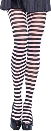 Leg Avenue Damen Strumpfhose quer geringelt schwarz weiß Einheitsgröße ca. 38 bis - Schwarz Und Weiß Gestreifte Kostüm
