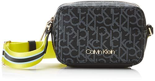 Tasche Monogram (Calvin Klein Damen Monogram Camerabag Umhängetasche, Schwarz (Black Mono/Lime) 7x12x18 cm)