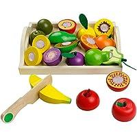 yoptote Frutas y Verduras Juguete para Cortar Frutas Verduras Juguetes Montessori Comida Madera Cocinas de Juguete para Niños Cumpleaños Infantiles