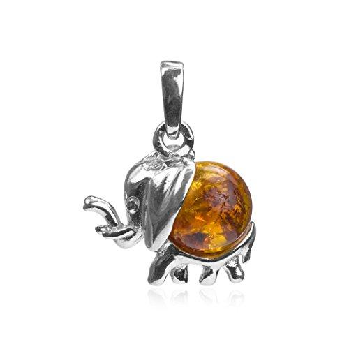 Ámbar miel de plata 925/1000 con colgante, diseño de elefante