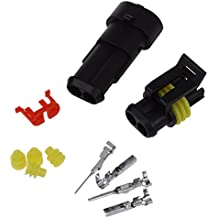 SODIAL(R) 5 Kit Conector sellado 2 Pins Impermeable Electrico Cable Enchufe