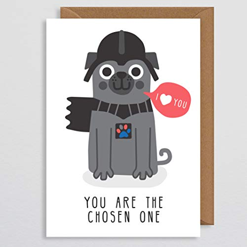 Hund Valentines Karte lustig - du bist der Auserwählte - Mops Valentines Karte - Sci-Fi-Karte - Valentines - Valentines Geschenk für sie - für ihn - Freund - Freundin - Hund Karte - vom Hund