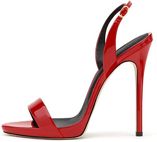 elashe- Scarpe da Donna - Sandali con Tacco Alto - 12CM Sandali- Sandali della Cintura della Caviglia Rosso EU39